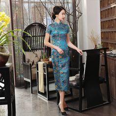 17.54 AUD - Womens Gorgeous Silk Brocade Cheongsam Vintage Chinese Wedding  Dress Long Qipao  ebay b144a49da7
