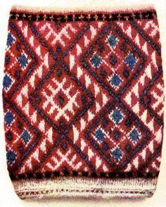 Setumaa meestesuka säärekiri. Patterned part of man`s stocking. Setumaa, Southeast Estonia.  Konsin, K. 1972 Silmkoeesemed. Tallinn: Kunst, tahvel XXI  http://www.tlu.ee/opmat/ku/MLT6008/kirjamine.html#