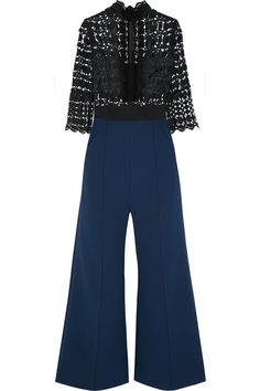 Self-Portrait This jumpsuit is skilfully crafted with a tulle-paneled black guipure lace top that falls to flared navy crepe pants.