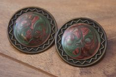 Jewelry Vintage Earrings Stud Vintage Earrings Red Green Bronze Circle Disk Stamping Enameled  Holiday L-031 by VintageEstate86 on Etsy
