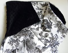 Minky Baby Blanket White Toile Black Minky by DesignsByDiBlankets, $57.00