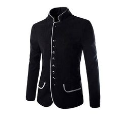 2016 New Luxury Men Jacket High Quality Fashion Stand Collar Wool Mens Blazer Coat Slim Fit Cotton Terno Masculino New Mens Fashion, Suit Fashion, Fashion 2016, Urban Fashion, Fashion Clothes, Fashion Brand, Wool Blazer Mens, Men Blazer, Casual Blazer
