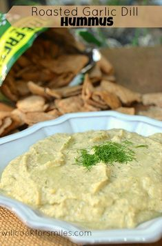 Roasted Garlic Dill Hummus | willcookforsmiles.com | #hummus #snack #appetizer