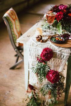 macrame bohemian wedding table runner / http://www.deerpearlflowers.com/boho-macrame-knotted-wedding-decor-ideas/