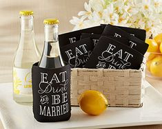 """""""Eat, Drink & Be Married"""" Collapsible Cold-Can Koozie (Set of 12) www.myweddingfavors.com"""