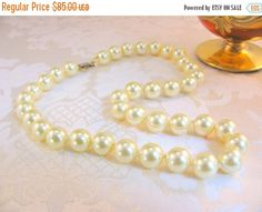 "ON SALE Vintage Hobé 17"" 10 mm. Majorca Pearl Choker Necklace, Mint"