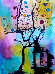 The Tree & His Cat - 5x7  art print by Marie-Noëlle Wurm, $15.00.