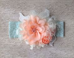 Girls or Ladies Headband in Peach Mint and Ivory by TatAndTilly