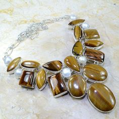 "STUNNING! HUGE TIGER EYE & PEARL SILVER NECKLACE 20"",157 GRAMS- STATEMENT PIECE! #Statement"