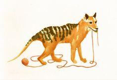 That Last Day  original thylacine painting by Nineblackcats, $30.00