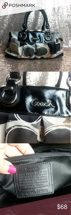 Coach Ashley Scarf Print Satchel Purse F17650 Coach. Scarf print. Cream, gray, green, gold. Black satin lining. Silver hardware. Patent black leather trim & handles. Hangtag included. Measure appx 13 x 9 x 5. Straps are losing the patent and show wear.  F17650 Coach Bags Satchels
