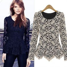 Spring 2014 new fashion autumn winter woman's blouses shirts long sleeve cutout Hollow lace top tuninc warm big size apparel-in T-Shirts from Women's Clothing & Accessories on Aliexpress.com | Alibaba Group