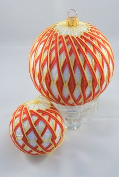 Christmas temari balls in white, red and gold.