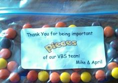 Thank you gifts for our VBS workers this year instead of a card! We used Reese's Pieces