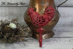 Red Rooster // key wall hook // Iron Rooster Hook  // Cast Iron Hook // Kitchen Hook // towel hook // rooster hook / red decor / red kitchen by TheNoteworthyNest on Etsy