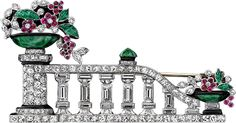 Platinum, diamond, ruby, emerald, jade, enamel Giardinetto brooch, Made in France, ca 1928.