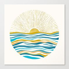 Buy Hello Sunshine Art Print by Modern Tropical. Gallery-grade art prints and framed prints by living artists the world over. Worldwide shipping available. Painting Inspiration, Art Inspo, Inspiration Wall, Teal Art, Painting & Drawing, Sun Painting, Sun Drawing, Diy Art, Watercolor Art