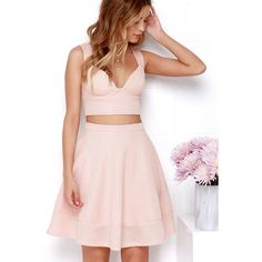 Airy Annex Blush Pink Two-Piece Dress ($65) ❤ liked on Polyvore featuring dresses, gowns, pink, long ball gowns, pink evening dress, long evening dresses, pink ball gown and 2 piece dress