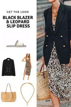 Get the look: black blazer and leopard slip dress - Cheryl Shops Spring Summer Fashion, Autumn Winter Fashion, Spring Outfits, Night Outfits, Casual Blazer, Blazer Outfits, Fashion Over 40, Women's Fashion, Fashion Trends