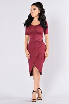 I'm Flattered Dress - Burgundy