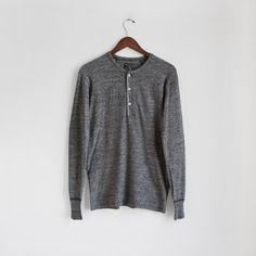 Homespun Knitwear - Standard Henley - Charcoal - Indigo & Cotton