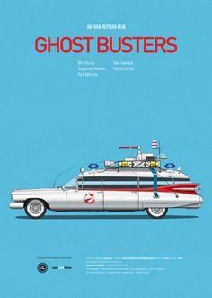 Posters : Les voitures des films célèbres - via Olybop #design #movies #Ghostbusters