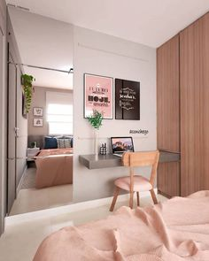 Home Office Bedroom, Home Office Design, Bedroom Apartment, Bedroom Decor, Tiny Bedroom Design, Study Table Designs, Beauty Room Decor, Tumblr Bedroom, Bedroom Layouts