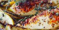 Barefoot Contessa's Lemon Chicken Breasts Recipe  1/4 Cup good olive oil 3 Tbs minced garlic (9 cloves) 1/3 Cup dry white wine 1 Tbs grated lemon zest (2 lemons) 2 Tbs freshly squeezed lemon juice 1 ½ Tsp dried oregano 1 Tsp minced fresh thyme leaves Kosher salt and freshly ground black pepper 4 boneless chicken breasts, skin on (6 to 8 ounces each) 1 lemon