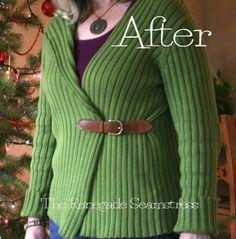 Pullover to cardigan refashion tutorial7jpg