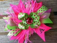 Hot pink and lime green initial bow