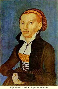 Original portrait. Lucas Cranach the Elder. Portrait of Katharina von Bora, Wife of Martin Luther. Olga's Gallery.