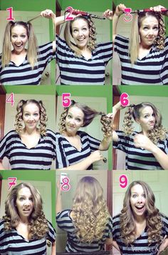 Quick and easy curls using a curling wand! Curl each pigtail with the curling wand going away from your face. It will look like you spent a lot of time on your hair when you didn't and the best part is you don't have to spend forever sectioning off your hair!: