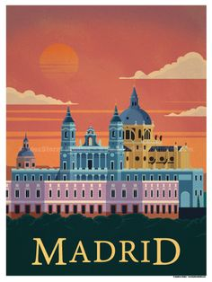 Madrid Poster Size – Digital Print on 80 lb cover matte white Physical poster does not include Watermark. *SHIPPING DETAILS* Items will be… Vintage Travel Posters, Vintage Postcards, Pub Vintage, Vintage Kitchen, Vintage Cars, Tourism Poster, Travel Illustration, Travel Themes, Grafik Design