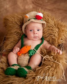 Crochet baby newborn through 12 mos fishing by CrochetbyDestinee, $45.00