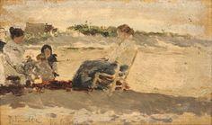 Mujeres sentadas en la playa con un  niño. 1891