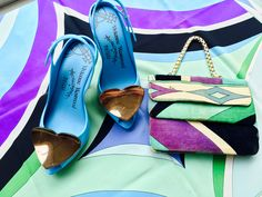 Vintage Emilio Pucci silk scarf and matching velvet bag. Vivienne Westwood jellies with heels and copper coloured hearts.  #EmilioPucci #VivienneWestwood #fashion #vintage #shoes #heels #bag #scarf #silk #velvet #colours #lifestyle  www.fizzoflife.com