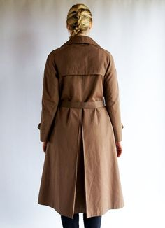 Vintage Dark Brown Trench Woman Coat Classic by AncientGoodies