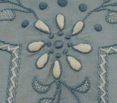 Hand-embroidered linen blouse & skirt, c.1915, blouse detail