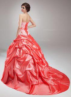 Ball-Gown Strapless Chapel Train Taffeta Wedding Dress With Ruffle Lace Crystal Brooch (002000498) - JJsHouse