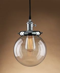Buyee® Modern Industrial Metal Glass Loft Pendant Lamp Retro Ceiling Light Vintage Lamp (Chrome head)