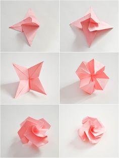 idée déco en origami avec une guirlande fleurie en roses, tuto pliage papier facile pour réaliser les roses en origami qui composeront la guirlande fleurie