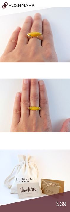 SALE!! Yellow Howlite Gold Ring 18k Gold Filled   Yellow Howlite Stone   Statement Rings ZUMARI  Jewelry Rings