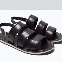 Zara Dressy Leather Sandals in Brown for Men | Lyst