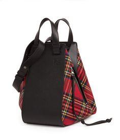 LOEWE Hammock Tartan Bag Black/Red Tartan