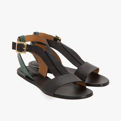 Sandales plates bicolore noir - Chloé