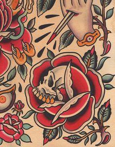 """Roses Flash"" - Falk Malisch - Tattoo Flash Print - Worldwide Shipping - √ High-quality Giclée-Print optionally on – Hahnemühle William Turner 190 gsm Digital Fi - Traditional Tattoo Old School, Traditional Rose Tattoos, Traditional Roses, Traditional Tattoo Design, Traditional Tattoo Flash, Dragon Tattoo Flash, Flash Tattoo, Tattoo Shirts, 1 Tattoo"