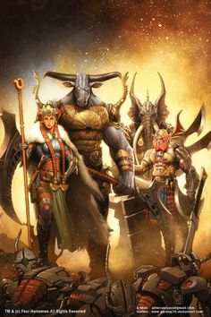 Four Horsemen Picture  (2d, fan art, fantasy, characters, creatures, warriors)