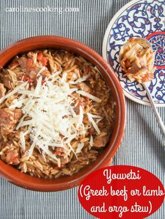 Youvetsi (Greek beef or lamb and orzo stew) #SundaySupper - a delicious slow-cooked dinner recipe where the orzo pasta takes on the flavorsome tomato-meaty sauce flavors and the meat cooks to melting tenderness. Easy to make too.