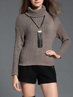 #AdoreWe #StyleWe MESAPPAS Gray Knitted Casual Turtleneck Plain Sweater - AdoreWe.com