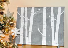 Am pinning for this darling birch tree drawing. the cupcakes are just a wonderful bonus! Creating Cupcakes - Holly Brooke Jones: DIY Winter Home Decor Easy Canvas Painting, Winter Painting, Diy Canvas, Diy Painting, Canvas Ideas, Canvas Paintings, Canvas Crafts, Vinyl Crafts, Tole Painting